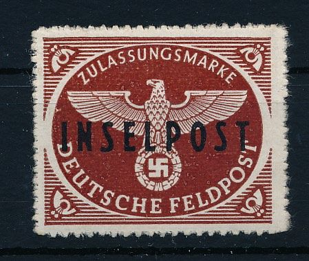 "Field post approval stamp - 1944 - with overprint ""Inselpost"" for the island of Rhodes, Michel no. 9"