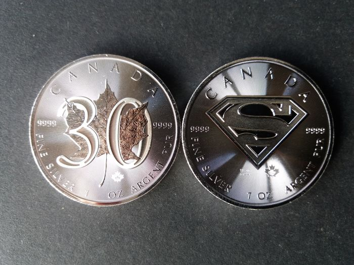 Canada - 5 Dollars 2018 'Maple Leaf 30 Years' + Maple Leaf 2016 SUPERMAN - 2 X 1 oz silver