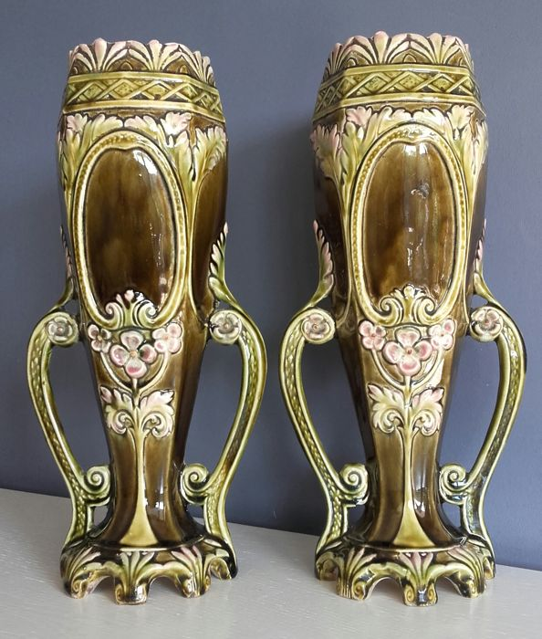 A pair of large Art Nouveau vases
