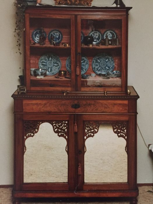 Willem III secretaire with display cabinet top unit - ca. 1870
