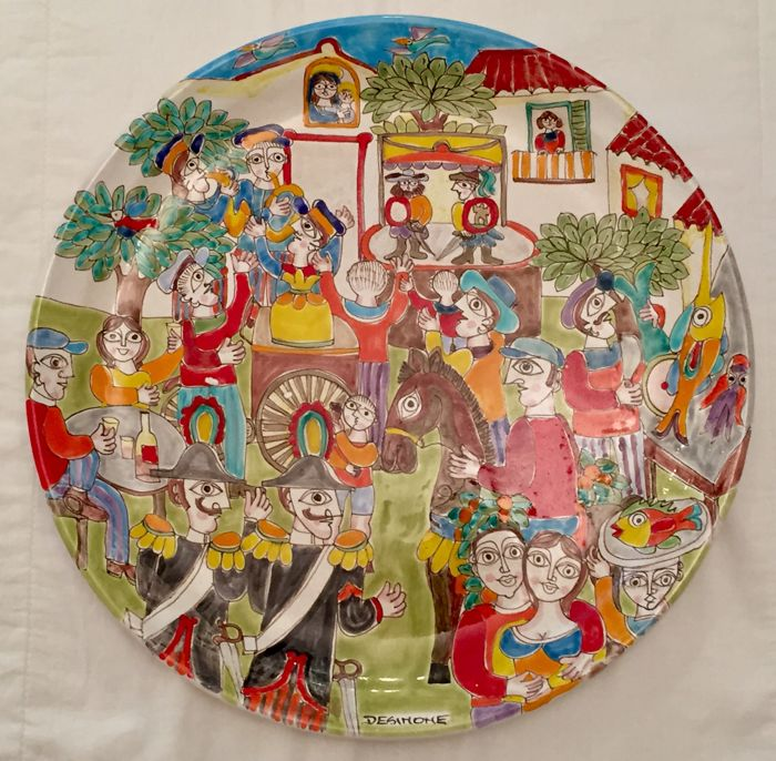"De Simone ceramics - Decorative plate ""La Piazza"" - 45 cm"