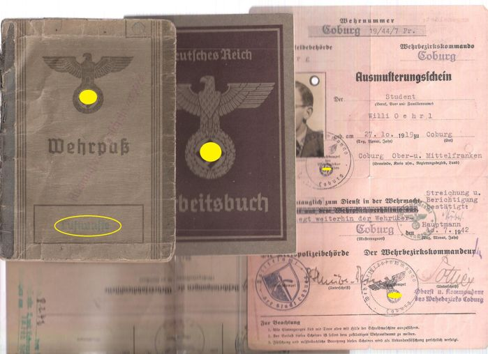 WW2 Luftwaffe military ID card, workbook, exemption from military service certificate, and others