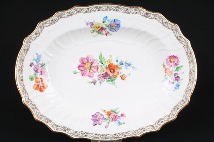 KPM Berlin, Large Meat Platter Painted with Flowers, Relief Decoration and Gold Edge