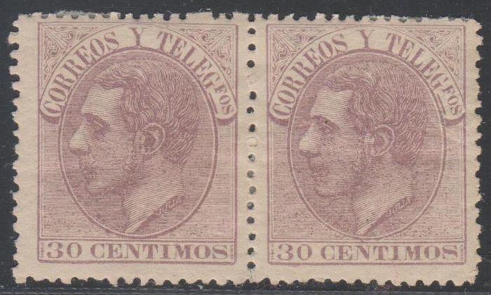 Spain 1862 - Alfonso XII. 30 cts lilac. Pair - Ed: 211(2)