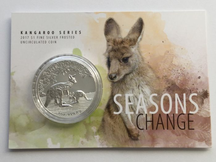 Australia - 1 Dollar, 2017 - 1 oz Silver, Frosted Finish - (Seasons Change - Kangaroo)