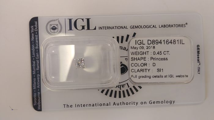 IGL 0.45 Carat D/SI1 Princess Cut Shape Natural Loose Diamond, Sealed