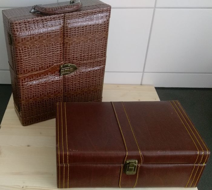 Luxury leather wine case for 2 bottles with sommelier set & beautiful wine case for 2 bottles with sommelier set