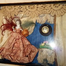 Antique half doll diorama / shadowbox