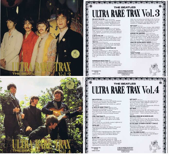 The Beatles - Lot of 2 LP's: Ultra Rare Tracks Vol. 3 and 4 (The Swingin' Pig TSP 025 and TSP 26) alternate studio recordings 1963-1969 | great sounding from original master tapes