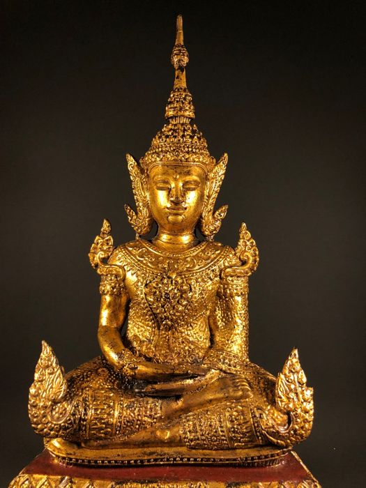 A large gilt plated Ratanakosin Buddha monastry statue (43cm) - Thailand - second half 20th century