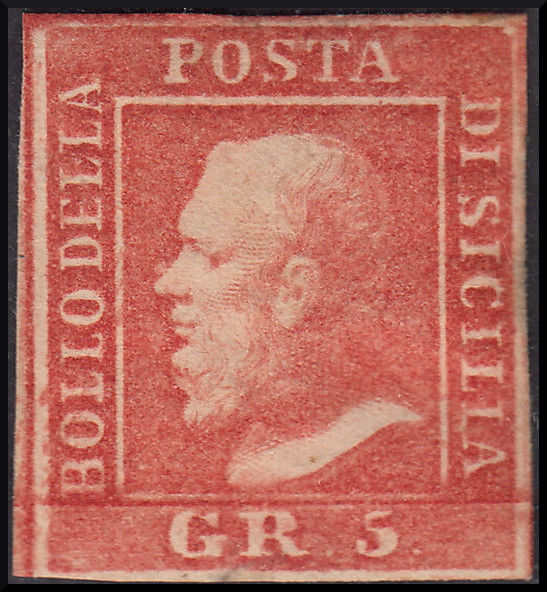 Sicily 1859 - Grana 5 light vermilion, plate I, paper of Palermo, position  No  14 in the sheet. Sass.  No 10