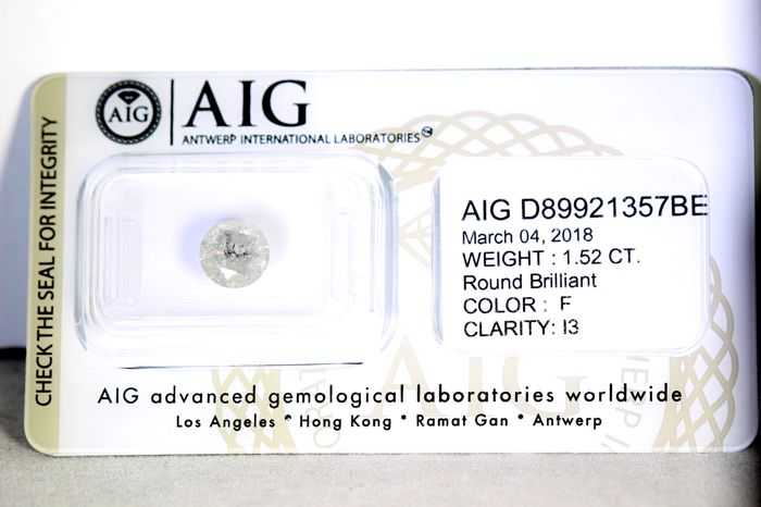 AIG Sealed Diamond  - 1.52  ct - F , I3 - * NO RESERVE PRICE *