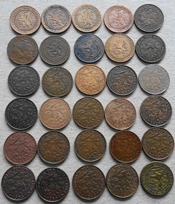 The Netherlands, 1 cent 1878 - 1943 (lot of 30 different years) including 1924 (rare)