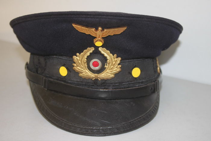 Peaked Cap of the German Kyffhäuser League, Navy, with Manufacturer, from the Second World War