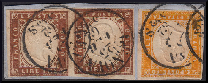 "Sardinia, 1862 – 3 Lire, copper, thick paper, horizontal pair and 80 cent orange yellow on fragment, cancelled, ""Genova - 25 Feb. 1862"" – Sass. No. 18 and 17C"