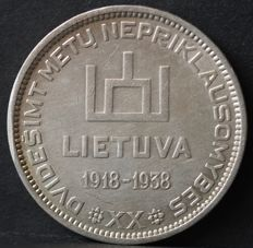 Lithuania - 10 Litu 1938 - 20th anniversary of the Republic - Silver