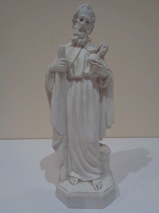 Antique sculpture Workshop model Saint ? holding the bust of Jesus Christ Olot, Spain Early 20th C