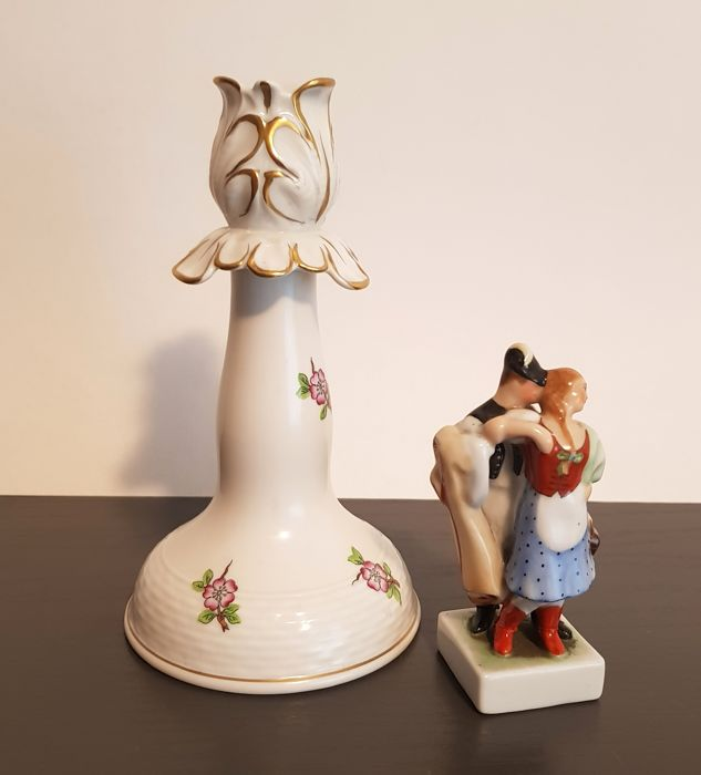 Lot of Herend Porcelain - Candlestick and 'Couple in Love' Figurine