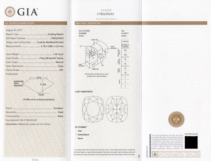 1.40ct. FBY VS1 GIA Certificate! Natural brownish yellow diamond ...