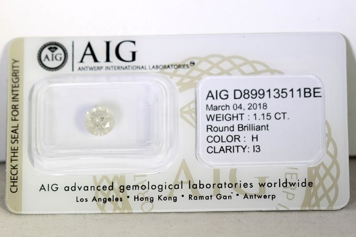 AIG Sealed Diamond  - 1.15  ct - H , I3