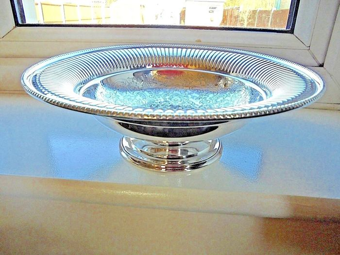 Silver plated fruit stand/centrepiece with pedestal by Barker & Ellis