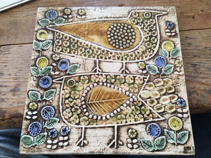 Lisa Larson Gustavsberg Pottery - Tile with a depiction of two birds