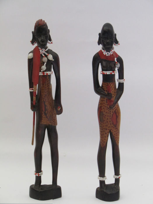 vintage ebony figures couple- Masai-Kenya