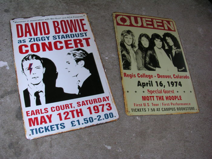 Two Great Classic Metal Concert Signs   DAVID BOWIE AND QUEEN