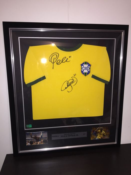 Neymar JR and Pelé -  Ultra Rare Brazil World Cup 1970 Dual Signed Premium Deluxe Framed shirt (Limited Edition 3/7) + COA and Photoproof!