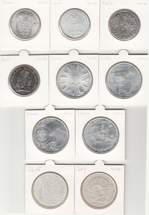 Portugal – 5 and 8 Euros occasional coins 2004/2012 – 10 different pieces – silver and copper-nickel