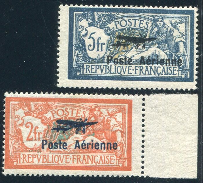 France 1927 - Airmail - Yvert no. 1, 2