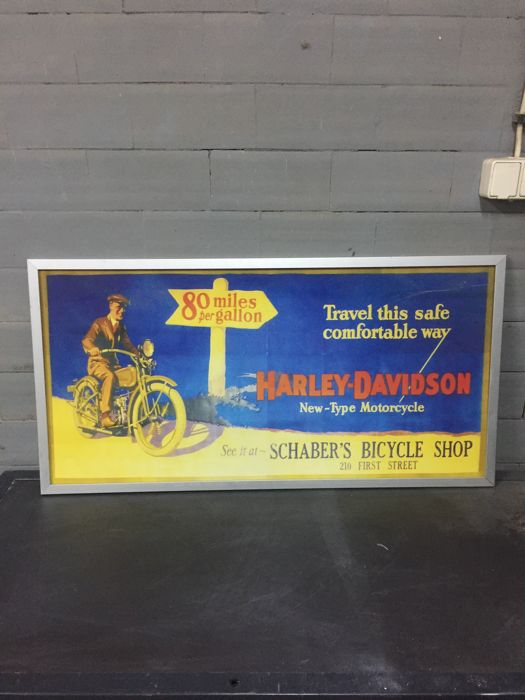 Big Harley Davidson Vintage collectible Advertising Poster - Garage Service Bar Item - 100 x 50 x 2 cm