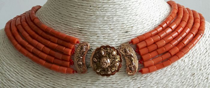 6 strands of Red coral with an Antique 14 karat gold Traditional  clasp from around 1900