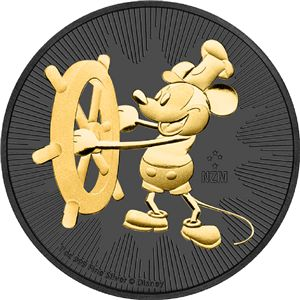2017 Nieu 2 $ Steamboat Willie Mickey Mouse 1Oz 999 Silver Gilded Colored Coin