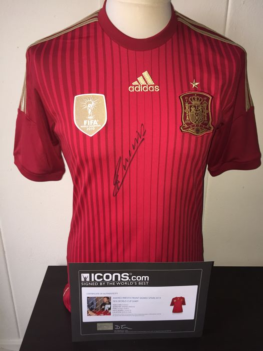 Andres Iniesta / Spain - Hand Signed Ultra Rare World Cup 2010 Champions shirt + COA & Photoproof.