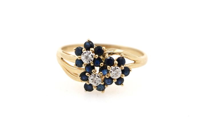 Women's ring, gold ring with diamonds 0.03 ct G-SI and 16 sapphires 1.50 ct - 61 (EU) / diameter: 19.2