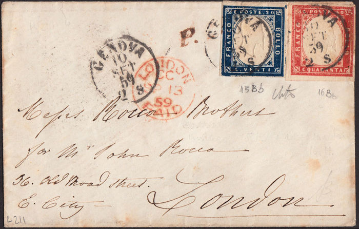 Sardinia 1861 - Cent. 20 ultramarine + Cent. 40  carmine red on envelope from Genoa to London - Sass.  15Bb + 16Bb