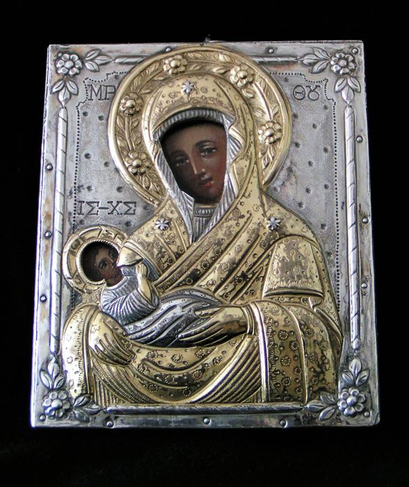 Eastern Orthodox icon of the Virgin Mary with Jesus - Russia, 19th / 20th century