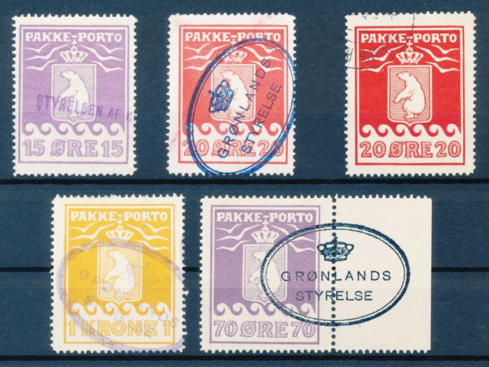 Greenland 1915 - parcel stamps Various cancelled stamps in types/colours, etc.