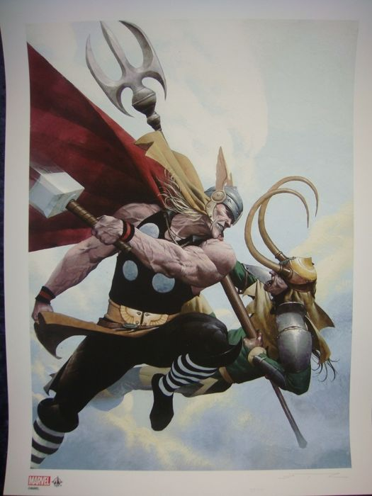 Screen Thor vs Loki signed and numbered by ESAD RIBIC (limited series n.º 38 of 50)