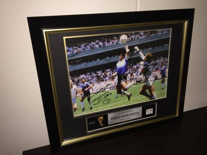 Diego Maradona (Argentina) - Hand Signed 'Hand of God' World Cup 1986 Extra Large Framed Photo, Limited Edition (2/200) + COA.