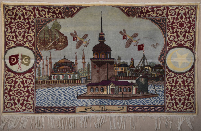 Turkish Hereke Kız kulesi ( Girl Tower ) Design Rug Size 105 x 180 cm