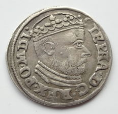 Poland, Stephan Bathory, 1575-1586 - 3 Gröscher 1586 l - D, Poznan - AR 21 m / m