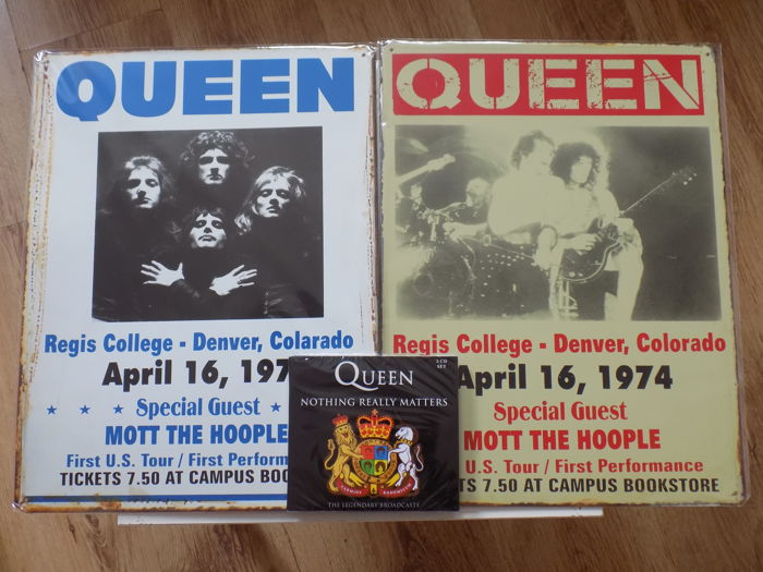"2 Queen Large Metal Repro Concert Signs & "" Nothing Really Matters "" 3 CD Set."