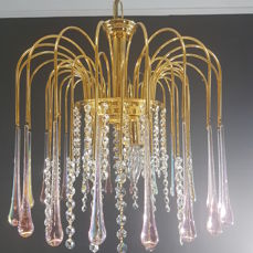 Chandelier set with cut crystals and teardrop crystal - second half 20th century, Belgium