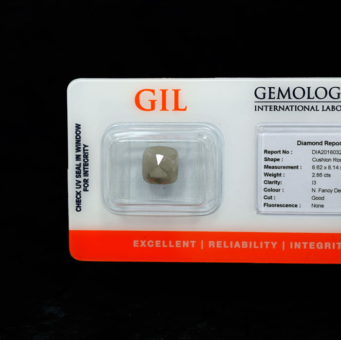 Natural Fancy Deep Grey Diamond - 2.86 ct, NO RESERVE PRICE
