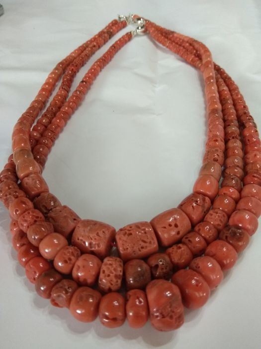Antique coral necklace - Sizes from 6 mm to 25 mm