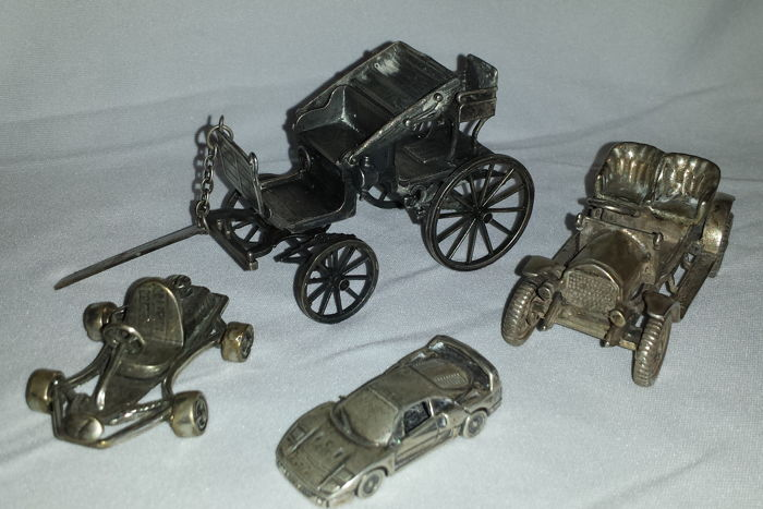 Collection of classic cars, solid silver - Italy - 1970