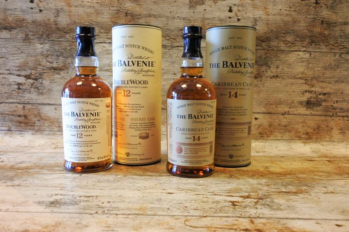Balvenie 12 years old Doublewood - 14 years old Caribbean Cask in original tubes - 70cl - 2 bottles