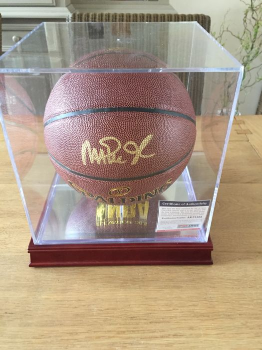 Magic Johnson signed basketball with a luxury display case